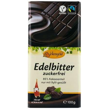 Ciocolata Birkengold 85% cacao indulcita cu xylitol 100 grame
