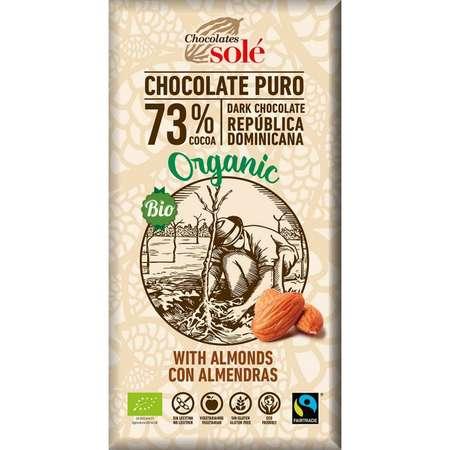 Ciocolata neagra Bio Chocolates Sole 73% cacao cu migdale 150 grame
