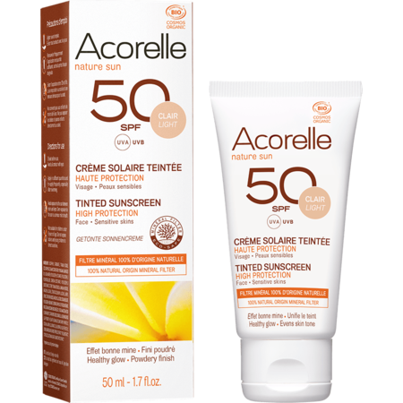 Crema solara colorata SPF 50 Acorelle nuanta deschisa 50 ml