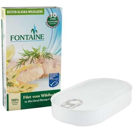 File de somon salbatic in sos Bio cu miere si mustar Fontaine 200 grame