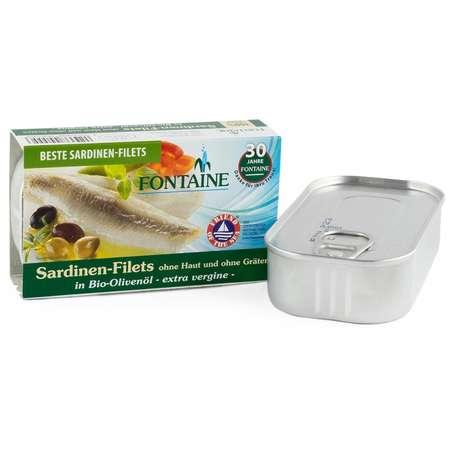 File de sardine fara piele si fara oase in ulei Bio de masline Fontaine 120 grame
