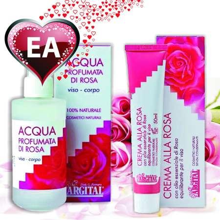 Pachet pentru ea: Crema de trandafiri pentru fata + Apa de trandafiri Argital Argital 50 + 125 ml