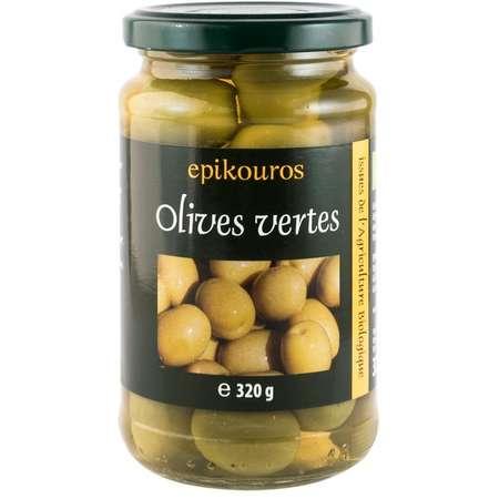 Epikouros Masline verzi bio cu samburi in saramura Epikouros 320 grame