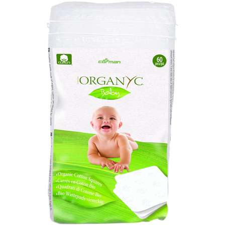 Dischete patrate Baby din bumbac organic Corman Organyc 60 bucati