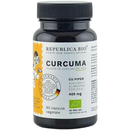 Curcuma bio (Turmeric) din India 60 capsule Republica Bio 30 grame